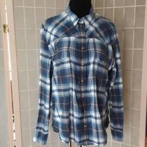 Jachs Girlfriend Bea cotton flannel plaid shirt xl